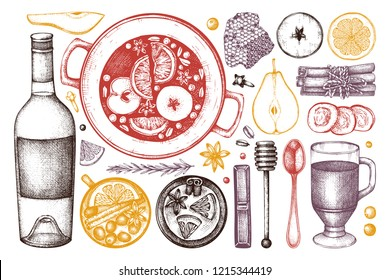 Mulled Wine Ingredients Set. Christmas Menu Design. Vector collection of hand drawn hot drinks, spices, herbs, dried fruits. Beverages, food and holiday elements illustration.
