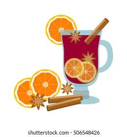 Mulled wine with orange slice and cinnamon stick, Vector Illustration.