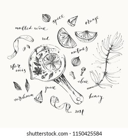 Mulled wine pot and ingredients ink illustration. Red wine, orange, zest, spices, pine, clove, star anise, nutmeg, cardamon. For food background and coloring book page.