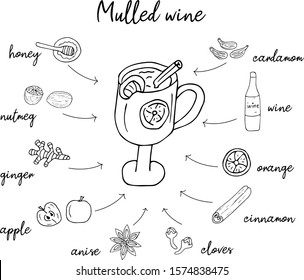 Mulled wine recipe in doodle style, hot drink in winter, poster for cafe, menu. Spice set, cardamom, cinnamon stick, nutmeg, anise star, honey, ginger, orange. Warming drink. illustration