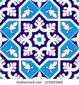 Multan Seamless Tile Deign for Blue Pottery