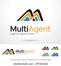 Multi Agent Letter M Logo Template Design Vector