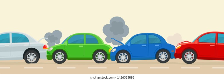 Multi car accident on the road. Multi vehicle crash. Many cars collided on the road. Side view. Vector illustration, flat cartoon style.