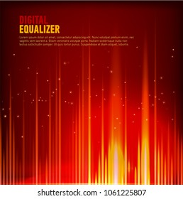 Multi color Audio waveform technology background Digital equalizer technology abstract Vector image