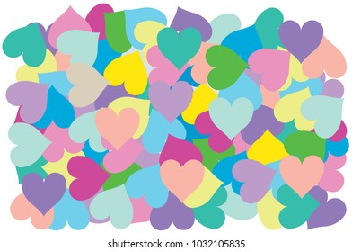 Multi color of heart put overlap to pattern. colorful of geometry shape overlay to texture of backdrop.