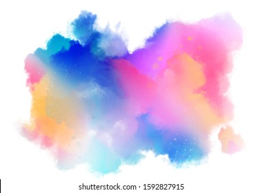 multi color splashes ink stains on white background