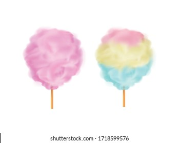 Multi colored cotton candy on a wooden stick.Sweets for parties and children. Sugar clouds 3d vector icon set.