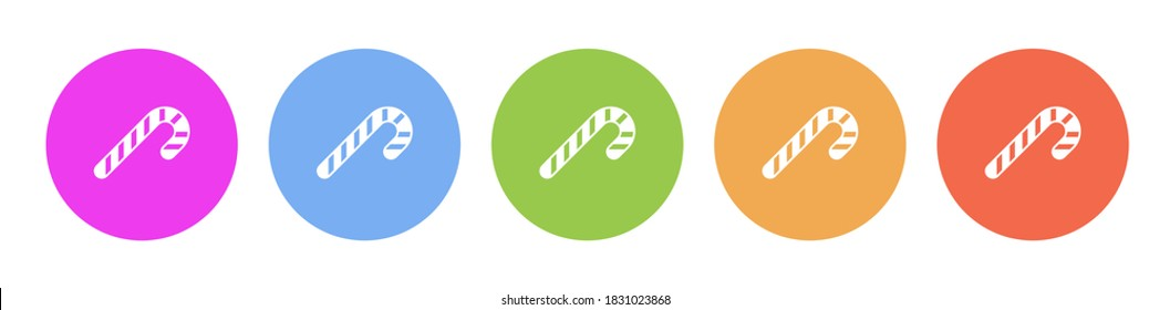 Multi colored flat icons on round backgrounds. candycane multicolor circle vector icon