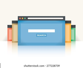 Multi colored internet browser windows with web search site page and copy space for your text in search box.  Idea - Internet search, Online shopping.