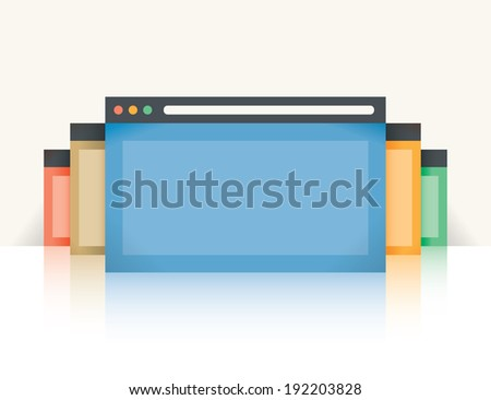 Multi Colored Internet Browser Windows Reflection Stock
