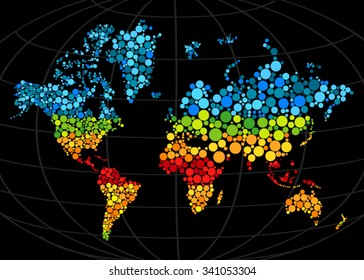 Multi colored mosaic world map painted with color circle.Abstract polygonal geometric design map. Vector illustration. Gradients free.