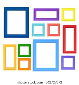 Multi colored photo frames for children picture composed in composition. Insert photo memory or use photo frame for decoration pictures.