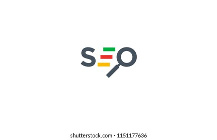 Multi colored SEO logo icon with magnifying glass