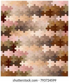A multi colored skin tone jigsaw over a white background