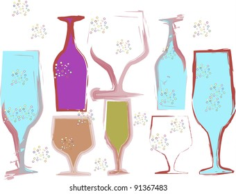 Multi colored vector wine glasses all different shapes and size. It has a white background,