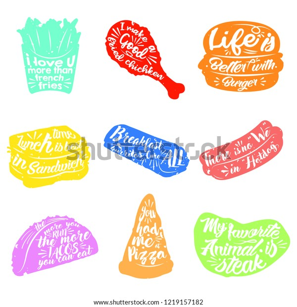 Multi Colors Fast Food Quotes Object Stock Vector (Royalty