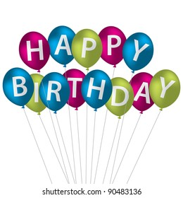 Multi coloured bright balloon bunch Happy Birthday card in vector format.