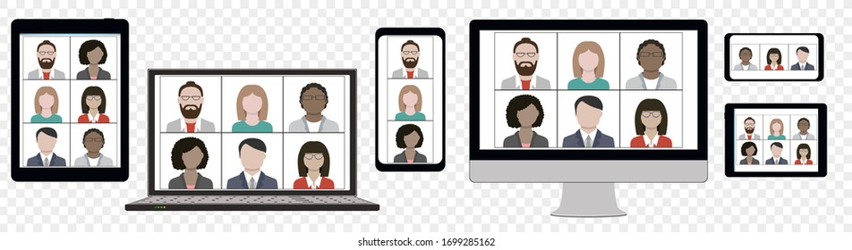 Multi Ethnic Business team hangout and have remote video meeting online on computer laptop cellphone and tablet zoom screen distant conference concept