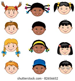 Multi ethnic children faces: Caucasian, African and  Asian boys and girls