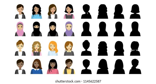 Multi Ethnic Female avatars and black silhouette,isolated on white background,flat vector illustration