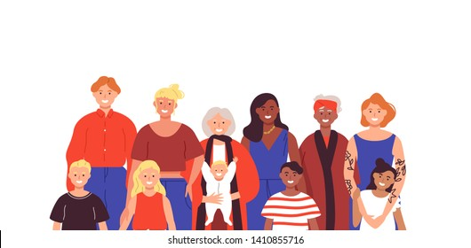 Multi generation group of women on isolated background. Family concept includes grandma, mother, children and baby.