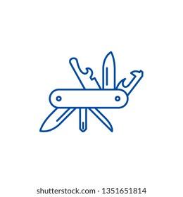 Multi knife line icon concept. Multi knife flat  vector symbol, sign, outline illustration.