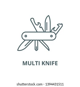 Multi knife vector line icon, linear concept, outline sign, symbol