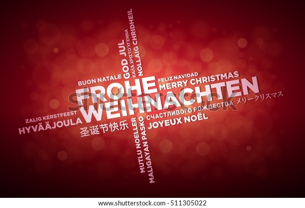 How Do You Say Merry Christmas In German.Multi Language Merry Christmas Typographic Design Stock