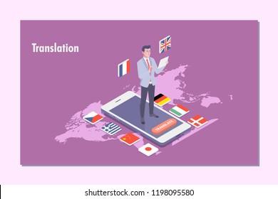 Multi language translator concept illustration.Vector illustration