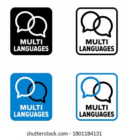 """""""Multi languages"""" support and service information sign"""