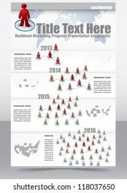 Multi level marketing progress presentation template with 3d people network
