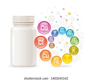 Multi mineral vitamin complex supplement. 3d mockup with empty bottle & minerals. Calcium iron zinc selenium iodine magnesium. Trendy health multivitamin complex poster. Icon isolated white background