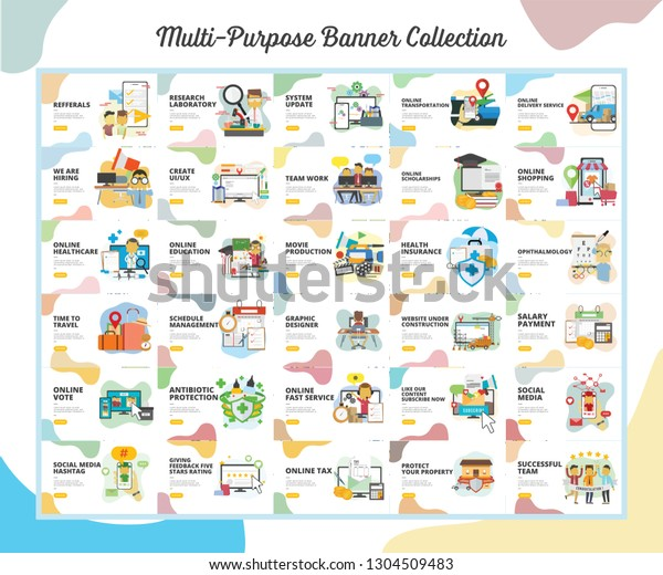 Multi Purpose Banner Collection With Flat Design Style