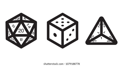 Multi Sided Dice Outline Icons with Numbers