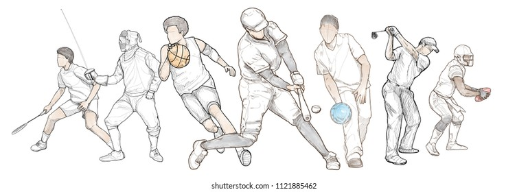Multi sport with badminton, fencing, basketball, baseball, bowling, golf, American football. vector illustration.