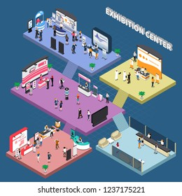 Multi storey exhibition center with corporate advertising stands and visitors isometric composition on blue background vector illustration