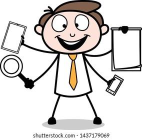 Multi Tasking - Office Businessman Employee Cartoon Vector Illustration