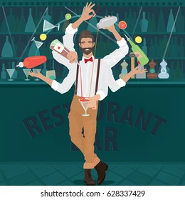 Multi-armed bartender hipster with red bow tie deftly prepares cocktail, simultaneously pours from bottle and shaker, juggles with glasses and other objects. Vector illustration