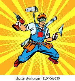 Multi-armed Builder repairman. Comic cartoon pop art retro vector illustration kitsch vintage drawing