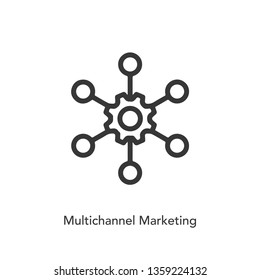 multichannel marketing icon vector. omni channel symbol. Network icon vector. Linear style sign for mobile concept and web design.  symbol logo illustration. vector.