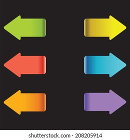 Multicolor arrows. Colorful arrow tags. Direction sign.