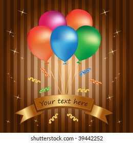 multicolor balloons with celebration banner