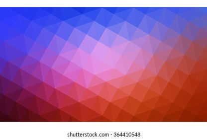 Multicolor blue, red polygonal illustration, which consist of triangles. Geometric background in Origami style with gradient. Triangular design for your business in vector.