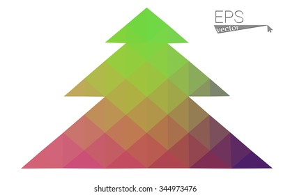 Multicolor bright low polygon style christmas tree vector illustration consisting of triangles . Abstract triangular polygonal origami or crystal design of New Years celebration. Isolated on white