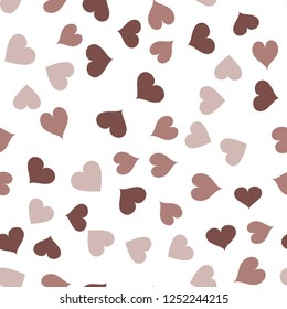 Multicolor Continuous Pattern with Hearts  in chocolate color. Elements are not cropped. Pattern under the mask. Vector. Perfect design for textile, box, posters, cards, web etc.