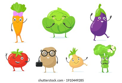 Multicolor cute vegetable mascots flat icon set for web design. Cartoon funny characters of carrot, onion, cabbage and tomato isolated vector illustration collection. Healthy food and garden concept