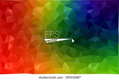 Multicolor dark geometric rumpled triangular low poly origami style gradient illustration graphic background. Vector polygonal design for your business. Rainbow, spectrum