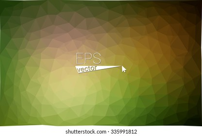 Multicolor dark green, yellow, orange  geometric rumpled triangular low poly style gradient illustration graphic background. Vector polygonal design for your business.