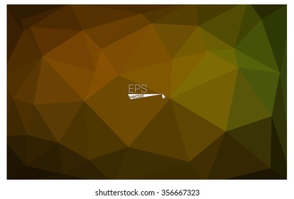 Multicolor dark green, yellow, orange geometric rumpled triangular low poly origami style gradient illustration graphic background. Vector polygonal design for your business.