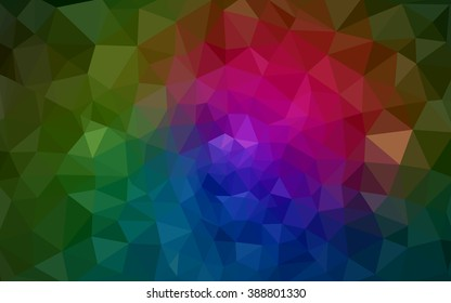 Multicolor dark pink, green polygonal illustration, which consist of triangles. Geometric background in Origami style with gradient. Triangular design for your business.
